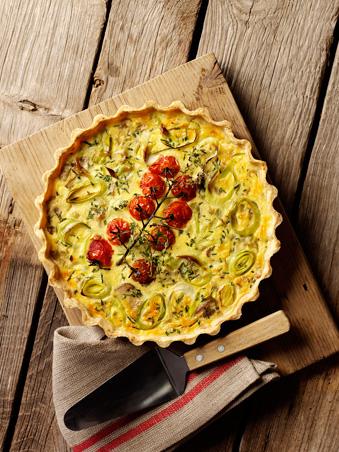 Leek, Mushroom & Oven-Roasted Tomato Quiche