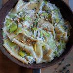 Creamy braised leek pasta