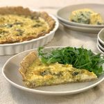 Caramelised Leek Tart with Walnut Pastry, Spinach and crumbled Perl Las
