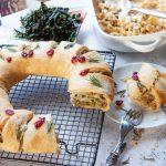 Christmas wreath – leek, apple, celeriac, chestnuts, sage, rosemary and shallots