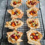 Leek and squash filo crown tarts