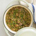 Leek, lamb and nigella seed casserole