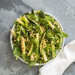 Chargrilled leek, courgette and herb salad
