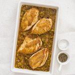 Pan roast chicken with leeks, cider and chorizo