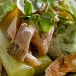 Warm Leek, Smoked Trout and Potato Salad with Horseradish Crème Fraise Dressing