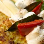 Leek and Potato Rosti with Monkfish Kebab