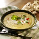 Spiced leek, potato & lentil soup