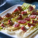Baked Leeks with Fig, Walnut and Crumbly Cheese